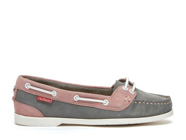 Harper - Grey/Pink Premium Leather Boat Shoes