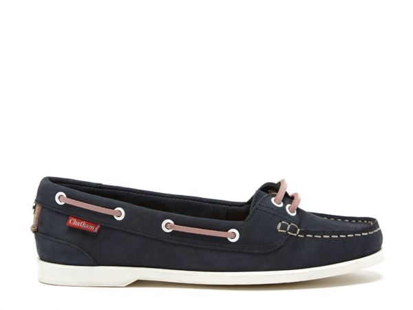 Harper - Navy/Pink Premium Leather Boat Shoes